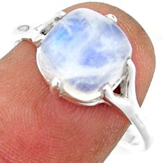 4.91cts solitaire natural rainbow moonstone 925 silver ring size 8 r41937