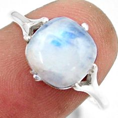 4.91cts solitaire natural rainbow moonstone 925 silver ring size 8 r41939