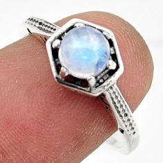 0.99cts solitaire natural rainbow moonstone 925 silver ring size 8 r41970