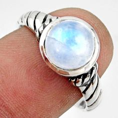 3.18cts solitaire natural rainbow moonstone 925 silver ring size 8 r41975