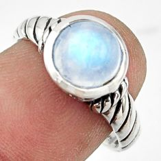 3.03cts solitaire natural rainbow moonstone 925 silver ring size 8 r41980
