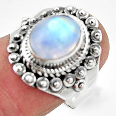4.08cts solitaire natural rainbow moonstone 925 silver ring size 8 r49434