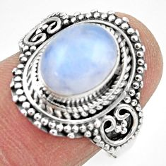 4.27cts solitaire natural rainbow moonstone 925 silver ring size 8 r49451