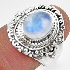 4.06cts solitaire natural rainbow moonstone 925 silver ring size 8 r49454