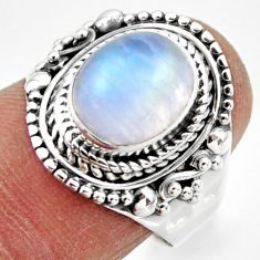 4.07cts solitaire natural rainbow moonstone 925 silver ring size 8 r49459