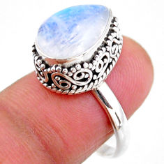 5.31cts solitaire natural rainbow moonstone 925 silver ring size 8 r51394