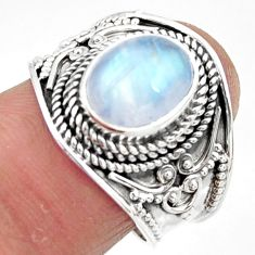 4.38cts solitaire natural rainbow moonstone 925 silver ring size 8 r51933