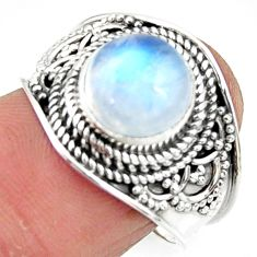 4.93cts solitaire natural rainbow moonstone 925 silver ring size 8 r51941