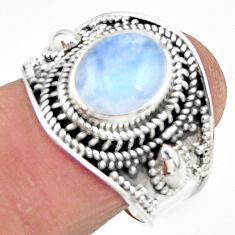 4.38cts solitaire natural rainbow moonstone 925 silver ring size 8 r51943