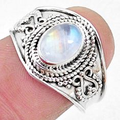 2.09cts solitaire natural rainbow moonstone 925 silver ring size 8 t10089