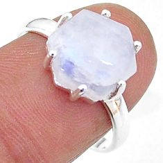 5.45cts solitaire natural rainbow moonstone 925 silver ring size 8 t11135
