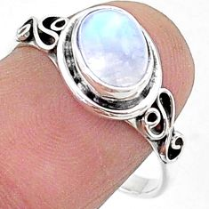 2.42cts solitaire natural rainbow moonstone 925 silver ring size 8 t15678