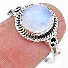 4.89cts solitaire natural rainbow moonstone 925 silver ring size 8 t15711