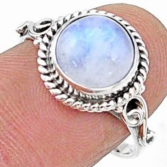 4.87cts solitaire natural rainbow moonstone 925 silver ring size 8 t15714