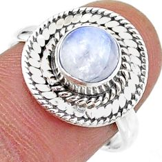 2.55cts solitaire natural rainbow moonstone 925 silver ring size 8 t15739