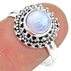 2.67cts solitaire natural rainbow moonstone 925 silver ring size 8 t15757