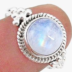 4.54cts solitaire natural rainbow moonstone 925 silver ring size 8 t15779