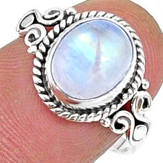 4.06cts solitaire natural rainbow moonstone 925 silver ring size 8 t15860