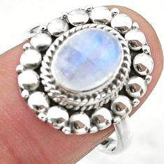3.14cts solitaire natural rainbow moonstone 925 silver ring size 8 t20078