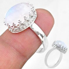 6.57cts solitaire natural rainbow moonstone 925 silver ring size 8 t20427