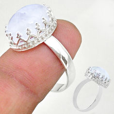 6.76cts solitaire natural rainbow moonstone 925 silver ring size 8 t20428