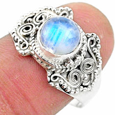 2.72cts solitaire natural rainbow moonstone 925 silver ring size 8 t3535