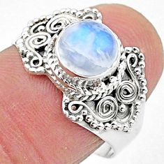 2.43cts solitaire natural rainbow moonstone 925 silver ring size 8 t3549