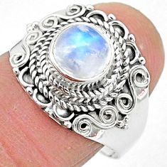 2.72cts solitaire natural rainbow moonstone 925 silver ring size 8 t3550