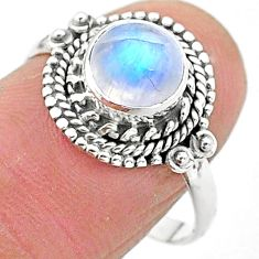 2.44cts solitaire natural rainbow moonstone 925 silver ring size 8 t3552