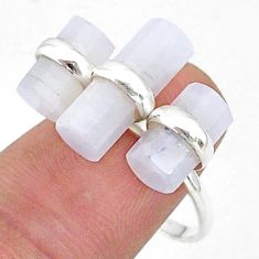 11.31cts solitaire natural rainbow moonstone 925 silver ring size 8 t36118