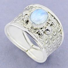 2.04cts solitaire natural rainbow moonstone 925 silver ring size 8 t37180