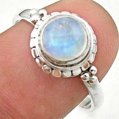 2.42cts solitaire natural rainbow moonstone 925 silver ring size 8 t41278