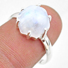 5.45cts solitaire natural rainbow moonstone 925 silver ring size 8 t43025
