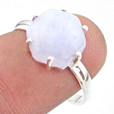 5.45cts solitaire natural rainbow moonstone 925 silver ring size 8 t43027
