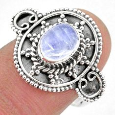 2.17cts solitaire natural rainbow moonstone 925 silver ring size 8 t43814