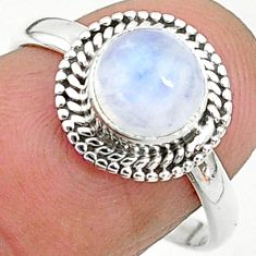2.42cts solitaire natural rainbow moonstone 925 silver ring size 8 t6562