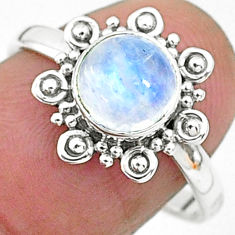 2.29cts solitaire natural rainbow moonstone 925 silver ring size 8 t6564