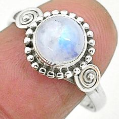 2.39cts solitaire natural rainbow moonstone 925 silver ring size 8 t6569