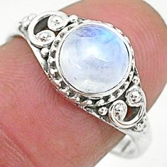 2.57cts solitaire natural rainbow moonstone 925 silver ring size 8 t6578