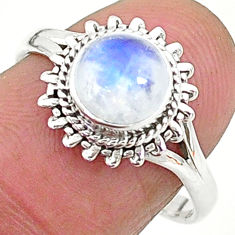 2.58cts solitaire natural rainbow moonstone 925 silver ring size 8 t6579