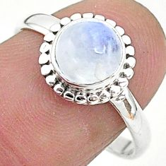 2.42cts solitaire natural rainbow moonstone 925 silver ring size 8 t6581