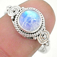 2.61cts solitaire natural rainbow moonstone 925 silver ring size 8 t6597