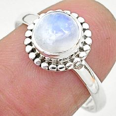 2.40cts solitaire natural rainbow moonstone 925 silver ring size 8 t6604