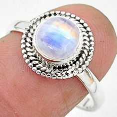 2.57cts solitaire natural rainbow moonstone 925 silver ring size 8 t6606