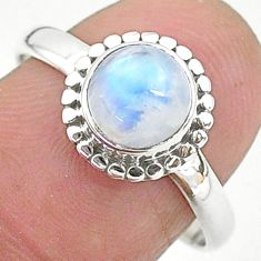 2.71cts solitaire natural rainbow moonstone 925 silver ring size 8 t6636