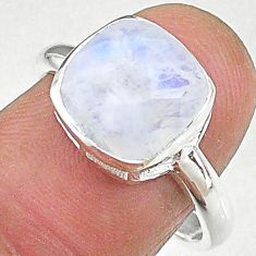 4.77cts solitaire natural rainbow moonstone 925 silver ring size 8 t8228