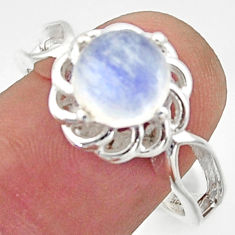 3.48cts solitaire natural rainbow moonstone 925 silver ring size 9 r40679