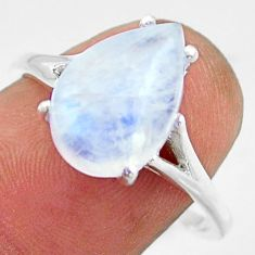 5.22cts solitaire natural rainbow moonstone 925 silver ring size 9 r41917