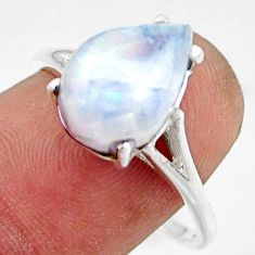 5.47cts solitaire natural rainbow moonstone 925 silver ring size 9 r41919