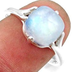 4.88cts solitaire natural rainbow moonstone 925 silver ring size 9 r41940
